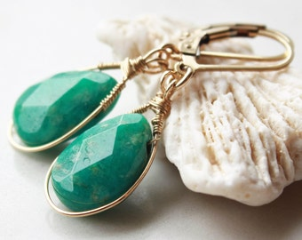 Amazonite Earrings, Gold-filled wire wrap, green gemstone, dangle, authentic artisan statement earrings, holiday gift for her, gift for mom