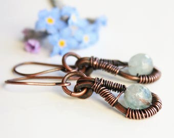 Natural Aquamarine Earrings, copper wire wrap, light blue gemstone, hand-forged artisan earrings, holiday gift for her, March birthstone