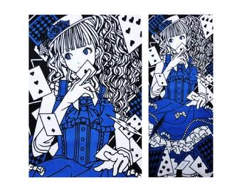 Kawaii girl fabric, girl in a kimono fabric, geisha fabric, Tenugui anime cosplay girl, lolita girl fabric anime poster, manga art tenugui