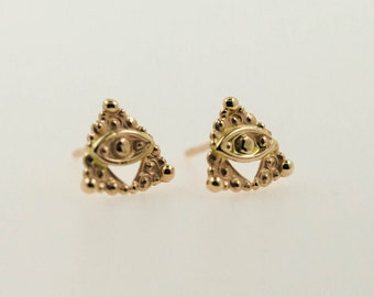 Stud earrings - 14kt gold earrings - gold ear studs - eyen - sacred jewelry - solid gold - special jewelry - bridal earrings
