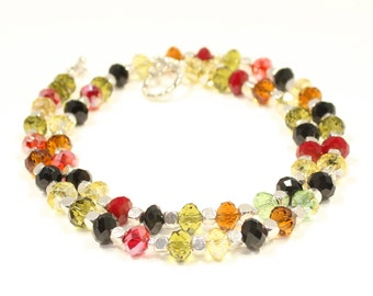 Crystal Necklace  Multi-color Jewelry  Crystal jewelry  Party Jewelry  Bridesmaid Necklace  Beaded Necklace