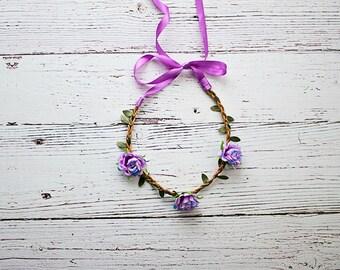 Flower wreath headband, Flower Crown Headband, Boho Flower Crown, Newborn Flower Crown, Lavender Flower Crown, Boho Headband
