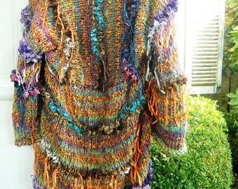 Handknit gypsy coat bohemian jacket kimono sweater golden brown green gold ruffle blue orange lilac frizzy ribbons hippie wearable art 3D