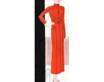 Plus Size (or any size) Vintage 1934 Coat-Dress Sewing Pattern - PDF - Pattern No 1605 Stella
