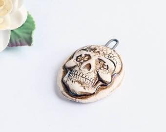Porcelain Ceramic Sugar Skull Cameo , Artisan Creamy White Pendant, Dia De Los Muertos, Day of the Dead