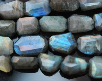 Amazing Labradorite Fancy Cut, Top to Bottom Drilled Faceted Nuggets, (7) Beads per lot