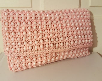 MARCUS BROTHERS BEADED Purse // Pretty in Pink Italian Made Raffia Clutch 60's
