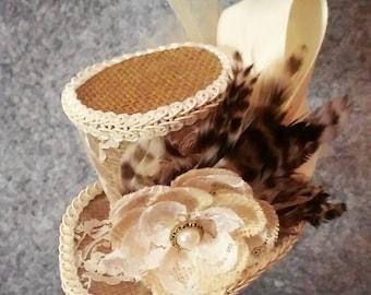 Burlap and lace mini top hat costume piece