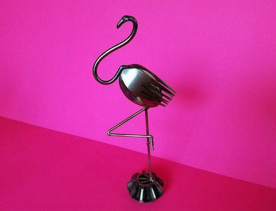 Steampunk metal, Flamingo, fork and spoon art, home decor flamingo, steel art gift, flamingo art gift, tropical bird decor, for spoonie