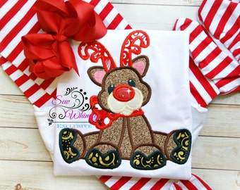 Christmas reindeer shirt or bodysuit- Christmas shirt-Rudolph shirt