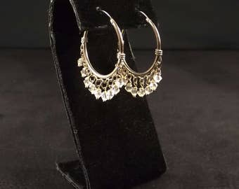Sterling Silver and Crystal Bead Hoop Earrings