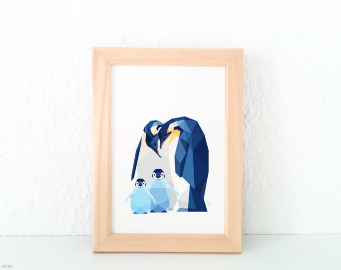 Penguin family, Penguin baby, Nursery art, Animal family art, Baby nursery decor, Geometric print, Baby animal art, Nursery, Cute baby room