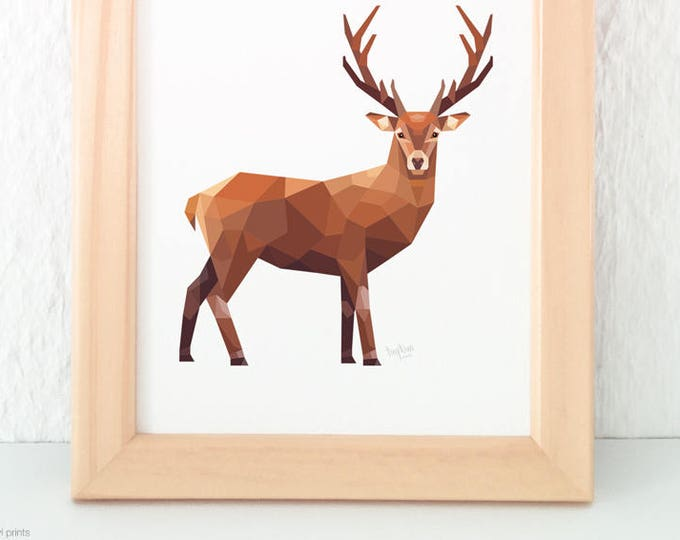 Stag print, Deer illustration, Wild deer wall art, New Zealand deer, Geometric stag, Woodland creatures, Forest animal art, Wildlife art