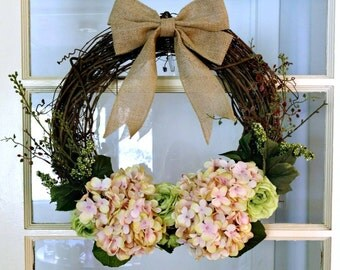 Hydrangea wreath.  Front door wreath.  Front door hydrangea wreath.  Shabby chic pink wreath.  Floral wreath.  Spring wreath.  Summer wreath
