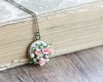 Pink miniature rose necklace - pink necklace - rose necklace - rose pendant - rose jewelry - pink jewelry - flower pendant - clay jewelry