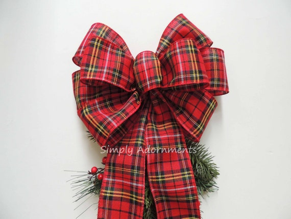 Red Gold Plaid Bow Red Black Gold Christmas Plaid Bow Christmas Tartan Wreath Bow Christmas Plaid Door Hanger Bow Christmas Plaid Gift bow