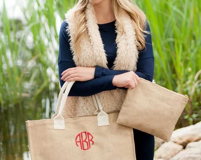 Monogrammed Burlap Tote Bag, Burlap Tote Bag, Personalized Tote Bag, Bridesmaid Gifts, Christmas Gifts Under 30, Sorority Sister Gifts