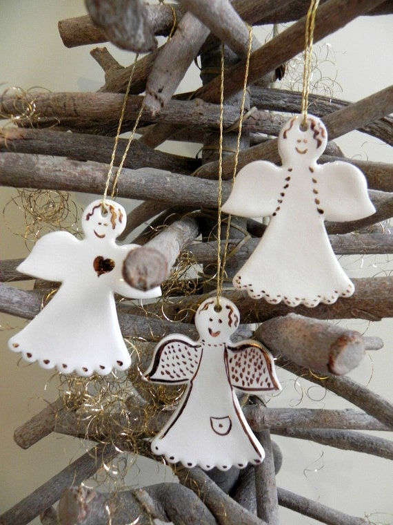 3 Ceramic Angels white Christmas ornaments gold Christmas