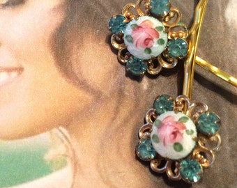 Aqua Blue Rose Bridal Hair Pins 1940 1950 Jewelry Vintage Art Deco Guilloche Enamel Filigree Turquoise Bobby Pins