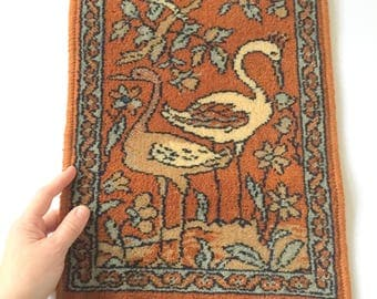Gorgeous Mini Luristan Wool Rug with Crane Scene - Excellent