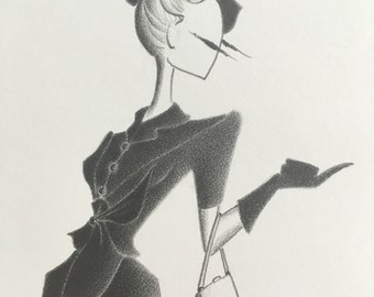 fashion illustration / vintage style / art / pencil drawing / film noir / fashion sketch