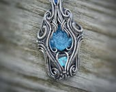 Aquadala // Aquamarine Frog Carving // Sapphire // Apatite // Symmetrical // Symmetry // Blues // Pendant // Wire Wrap // Intricate // Flow