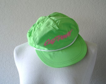 Vintage 90s Neon Snapback Hat - CAT Power Hat - Neon Green Hat - Mens Hat - Womens Hat - CAT Hat - Trucker Hat - Made in USA