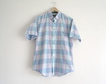 Vintage Plaid Shirt, Stripe Shirt, Mens Shirt, Womens Shirt, Turquoise and Purple, Short Sleeve, 90s Shirt, Lighweight, Summer, Large