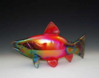 Blown Glass Salmon Sculpture - Sockeye Salmon