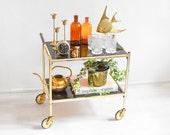 Vintage bar cart, 60s brass bar cart, Mid Century modern bar, brass cart 60s Ref: