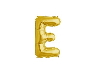 """Letter E - Gold 16"""" Mylar Letter Balloon, Wedding, Bridal Shower, 1st Birthday, Photo Prop, Name Banner, Baby Shower, Baby Name, Party"""
