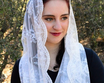 Catholic Veil Christian Headcovering - EVM38w -The Infinity Scarf Mantilla Veil Original,  in Embroidered White  Lace
