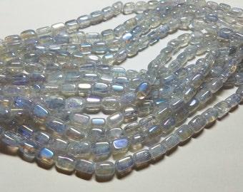 Clear Mystic Coated Titanium Quartz  Nugget Tubes  Beads 11mm to 12mm
