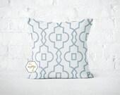 Blue Scrollwork Pillow Cover - Bordeaux Cashmere - Lumbar 12 14 16 18 20 22 24 26 Euro - Hidden Zipper Closure