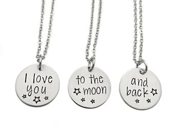 I Love You To The Moon And Back Necklace - Set of 3 Engraved Stainless Steel - Mother And Child - Best Friends - Granddaughter