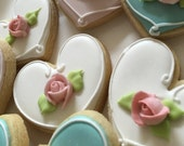 80 Pcs. White Heart Cookie Favors with Pink Rosebuds-April 12 (Wednesday)