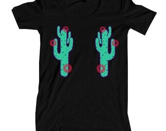 Womens Boho Vintage CACTUS Southwest Festival Shirt Trendy Yoga Tumblr Shirt Tee Top Retro Cotton Fashion Short Sleeve Tshirt S M L XL