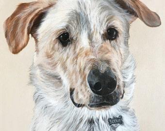 Custom Original Dog Portrait Painting – 12 x 12