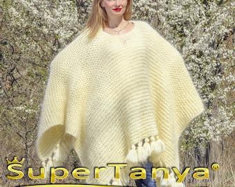 Fuzzy white mohair poncho oversized elegant ivory wrap shawl by SuperTanya made to order