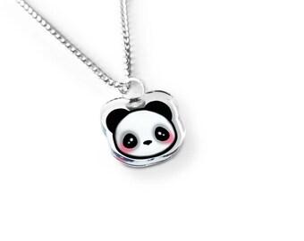 Tiny Kawaii Panda Necklace - Kawaii Necklace, Kawaii Bear Charm, Kawaii Jewelry, Panda Gift, Panda Bear Necklace