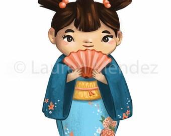 Cute Japanese Girl Blue Kimono Illustration Art Print, Nursery Room Art, Kids Room, unique print, Girls Room - Small Archival Print - 4x6