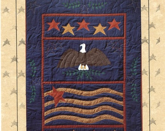 American Spirit Applique Patchwork Quilt Wall Hanging Eagle Stars