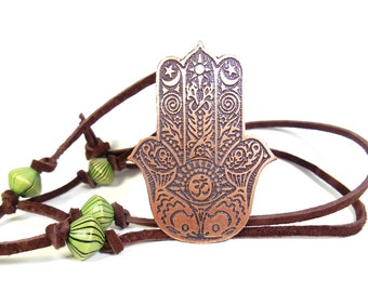 Hamsa Hand, Om Pendant, Hand of God, Protection Amulet, Chamsa, Hamsa Pendant, Hand of Fatima, Copper Jewelry, Long Necklace, Free Shipping