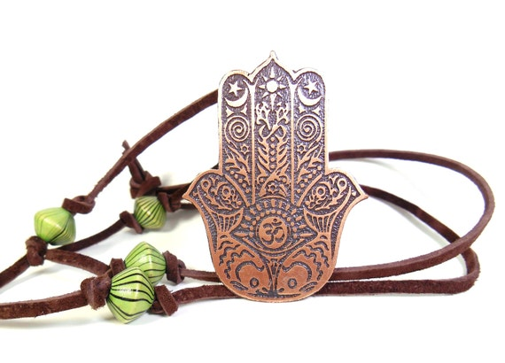 Hamsa Hand Om Pendant Hand Of God Protection Amulet