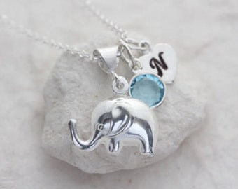 Puffy Elephant Necklace, Sterling silver elephant, Custom charms Included. Good luck Necklace, Silver elephant necklace, Girlfriend