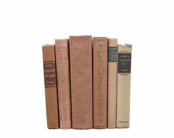 Sepia Brown Beige Decorative Books, Rustic Book Decor, Old Book Set, Shabby Chic Antique Book Collection Wedding Decor, Fixer upper