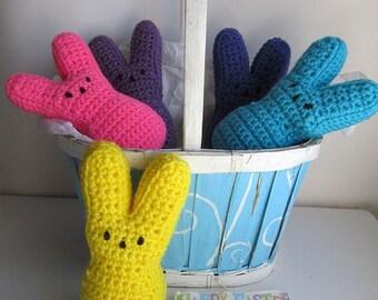 Crochet Peeps Bunnies / Large Marshmallow Bunny Peeps / Easter Basket Peeps Bunny / Easter Bunny Gift / Crochet Peeps Stuffed Bunny