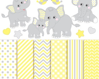 50% OFF SALE Baby Elephant Clipart & Digital Paper - Vector Baby Elephant Clipart, Nursery Clip Art and Baby Elephant Digital Paper