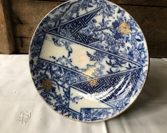 19th C Royal Doulton Compote, Aesthetic Period Transferware in Ribbon Pattern, Blue White Gold Accents, Black Necked Swan
