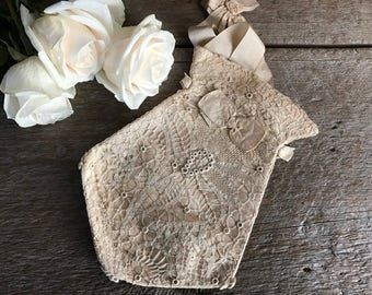 French Silk Lace Wedding Purse, Bridal Accessory, Oyster Cream Boudoir Sachet Pouch